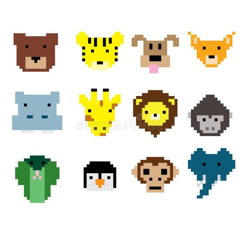 Piksel sztuki zwierzęcia twarze royalty ilustracja