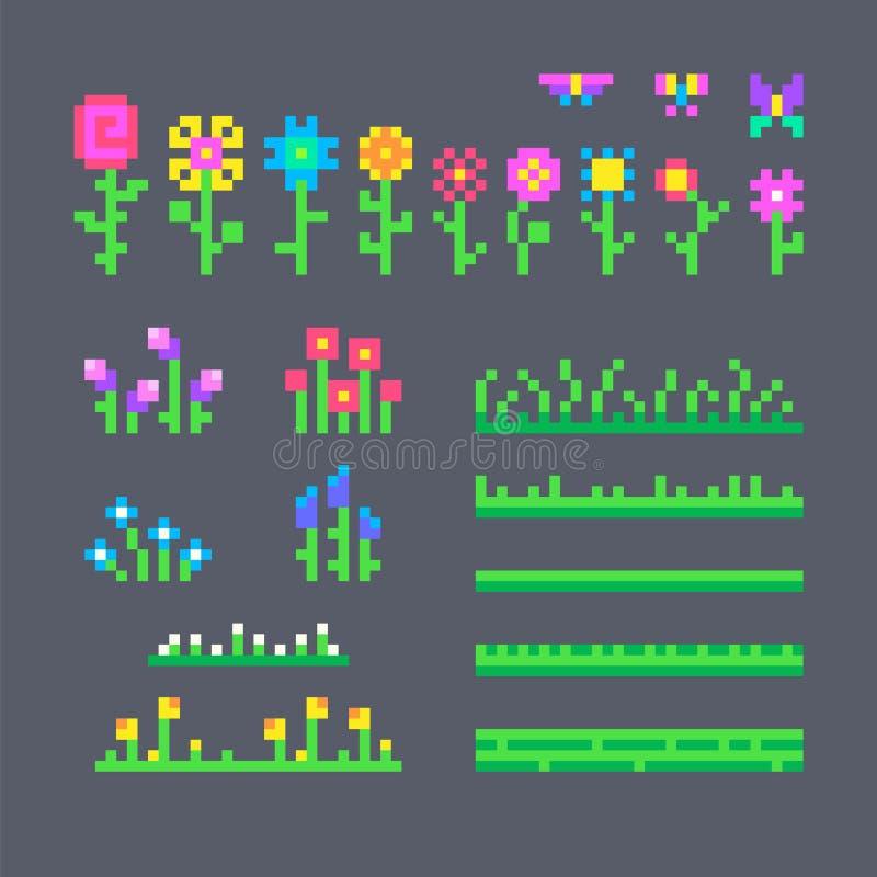 Piksel ustawiający różni kwiaty royalty ilustracja