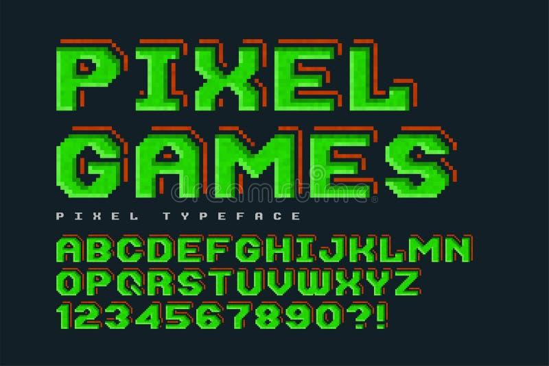 Piksel wektorowej chrzcielnicy projekt, stylizowany jak wewnątrz 8 kawałków gier royalty ilustracja
