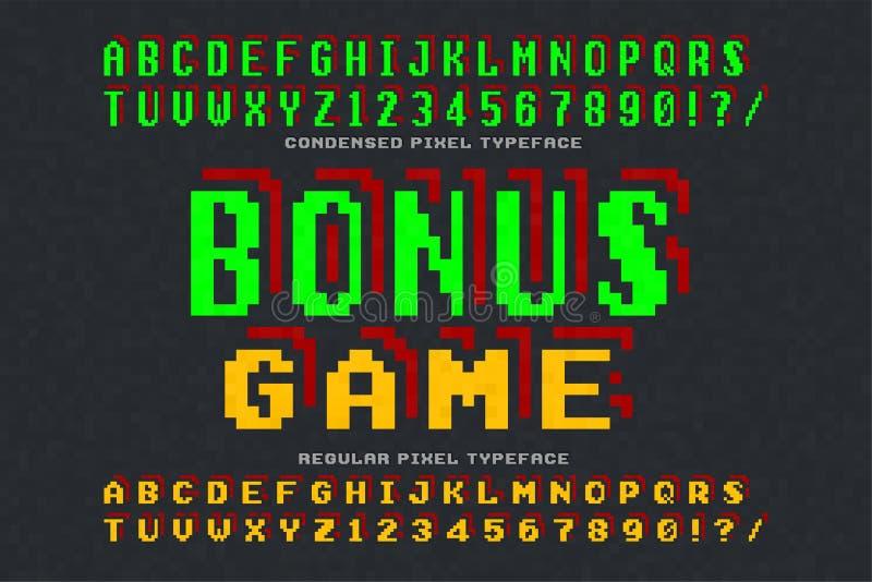 Piksel wektorowej chrzcielnicy projekt, stylizowany jak wewnątrz 8 kawałków gier ilustracji