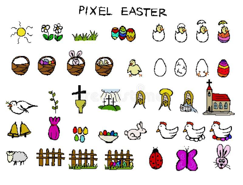 Piksel wielkanocy ikony ilustracji
