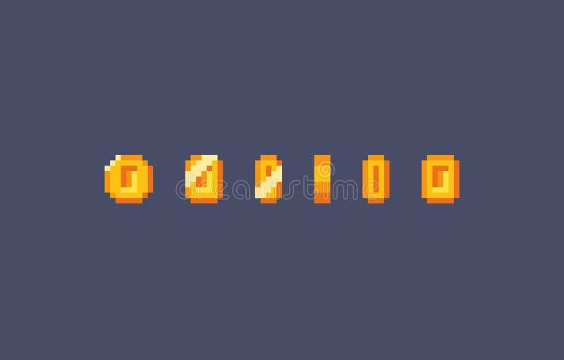 Piksel złocistej monety animacja ilustracja wektor