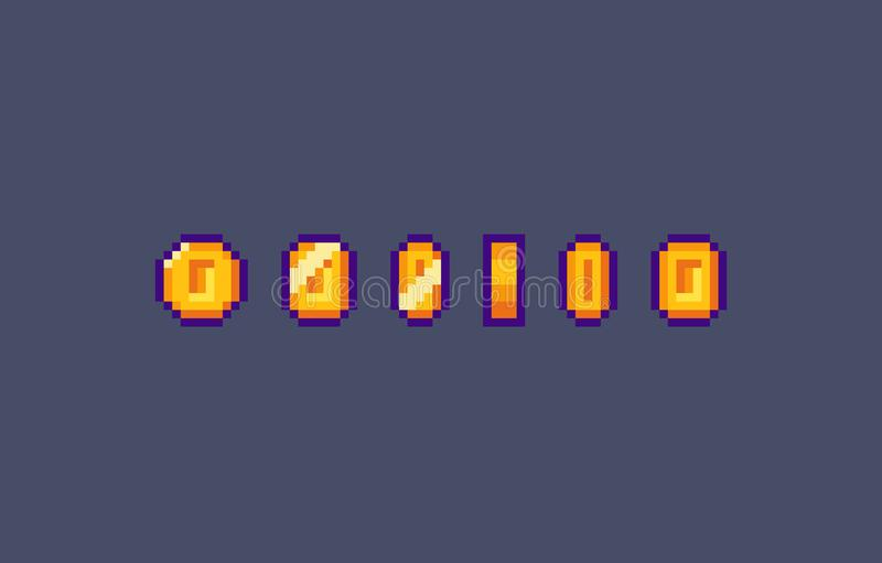 Piksel złocistej monety animacja royalty ilustracja