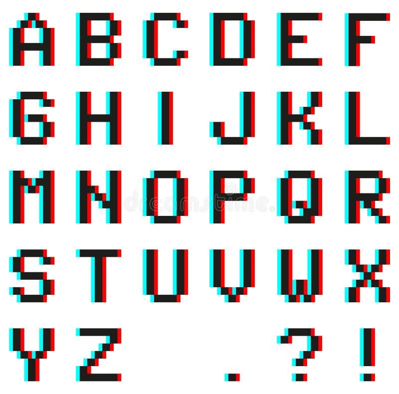 Piksla abecadło z anaglifu 3D skutkiem ilustracja wektor