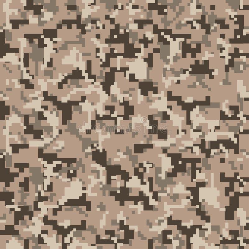 Piksla camo Bezszwowy Cyfrowego kamuflażu wzór Militarna tekstura Brown pustyni kolor royalty ilustracja