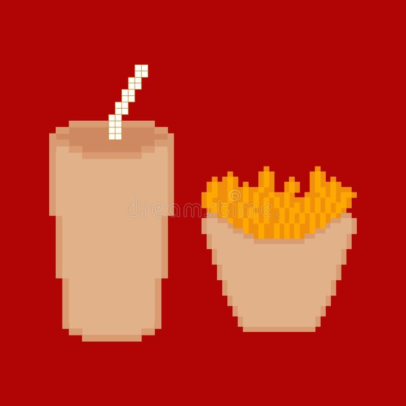 Piksla fasta food set ilustracja wektor
