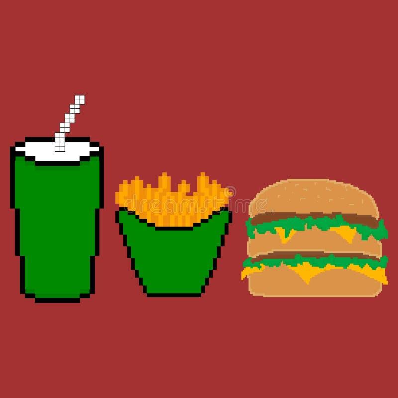 Piksla fasta food set ilustracji