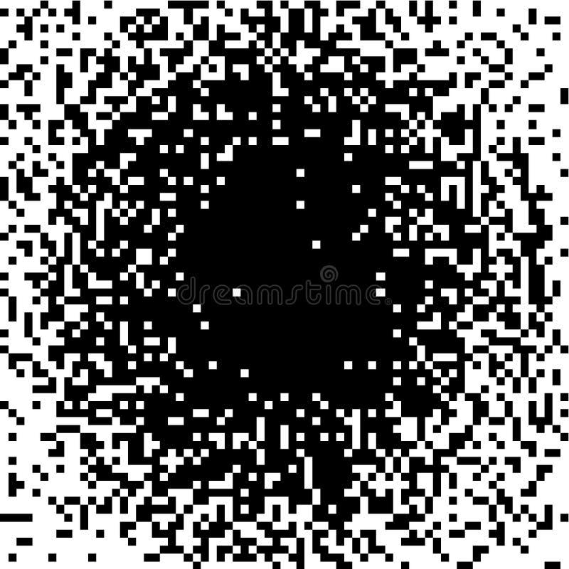 Piksla gradient, Monochromatyczny tło, abstrakcjonistyczna mozaika, czarny biały halftone cień Wektorowy ilustracyjny hałas dla royalty ilustracja