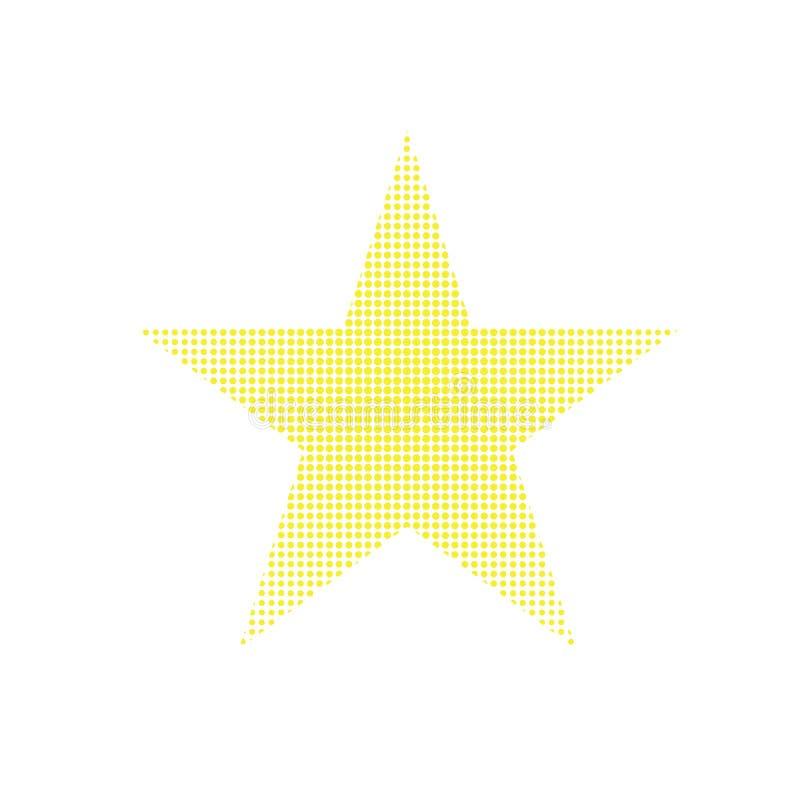 Piksla gwiazdowy wektor eps10 Żółta piksel oceny gwiazda z kolor żółty kropkami wśrodku royalty ilustracja