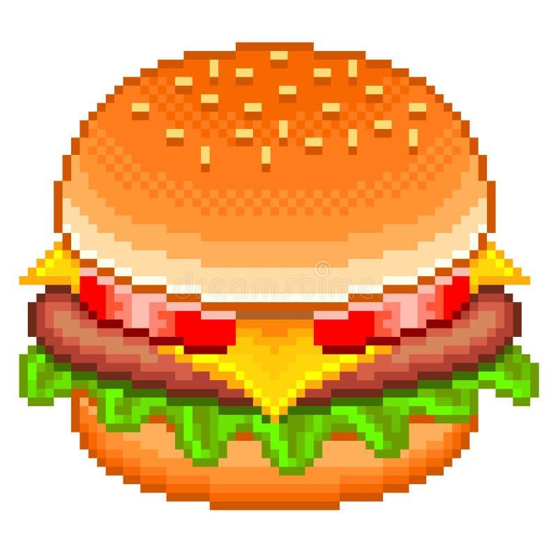Piksla hamburgeru wektor ilustracji
