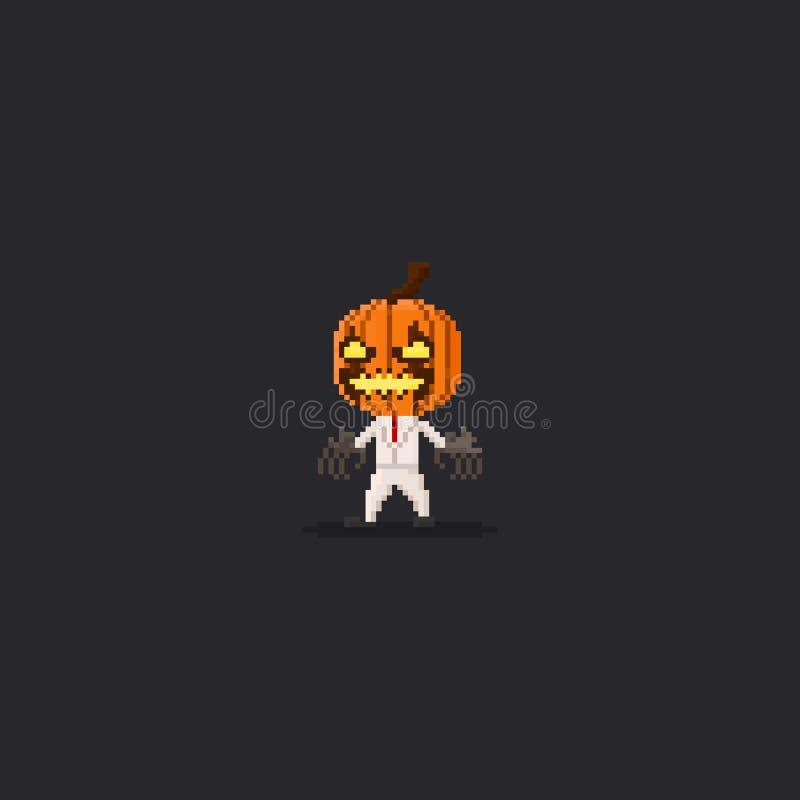 Piksla kostiumu bani głowy biały scarcrow 8bit Halloween charakter ilustracja wektor