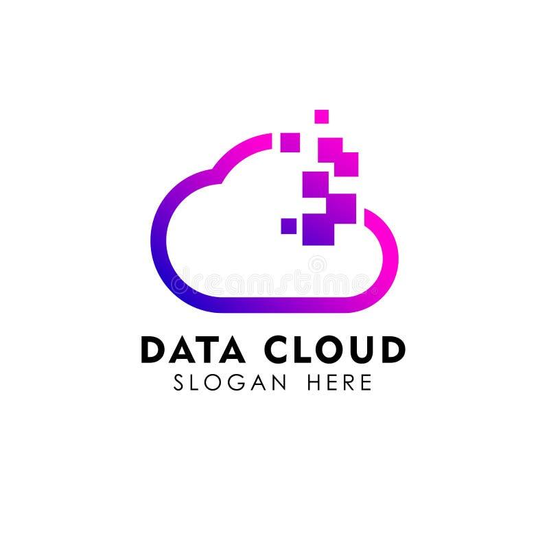 Piksla loga projekta obłoczny szablon dane serweru chmury loga wektoru ikona ilustracja wektor