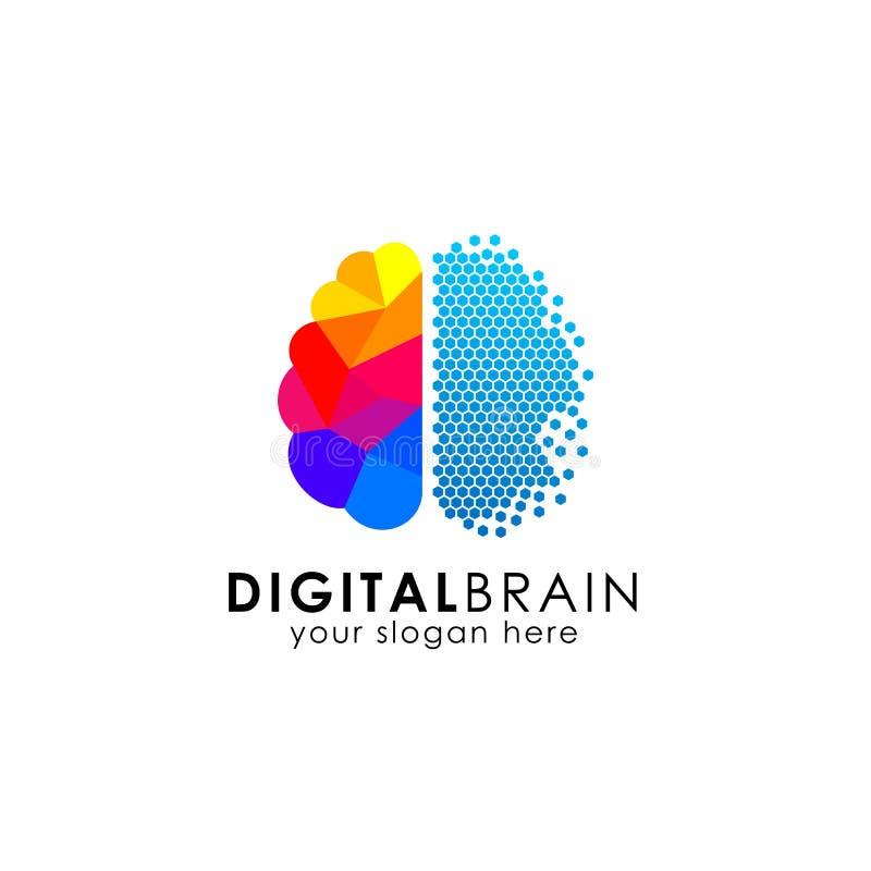 Piksla logo móżdżkowy projekt cyfrowy móżdżkowy logo projekt w piksel sztuce royalty ilustracja