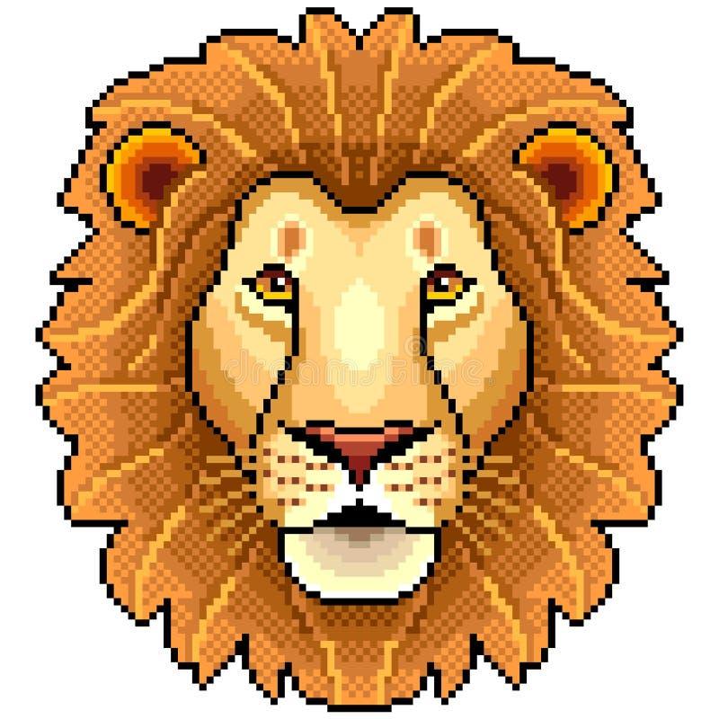 Piksla lwa twarzy odosobniony wektor royalty ilustracja