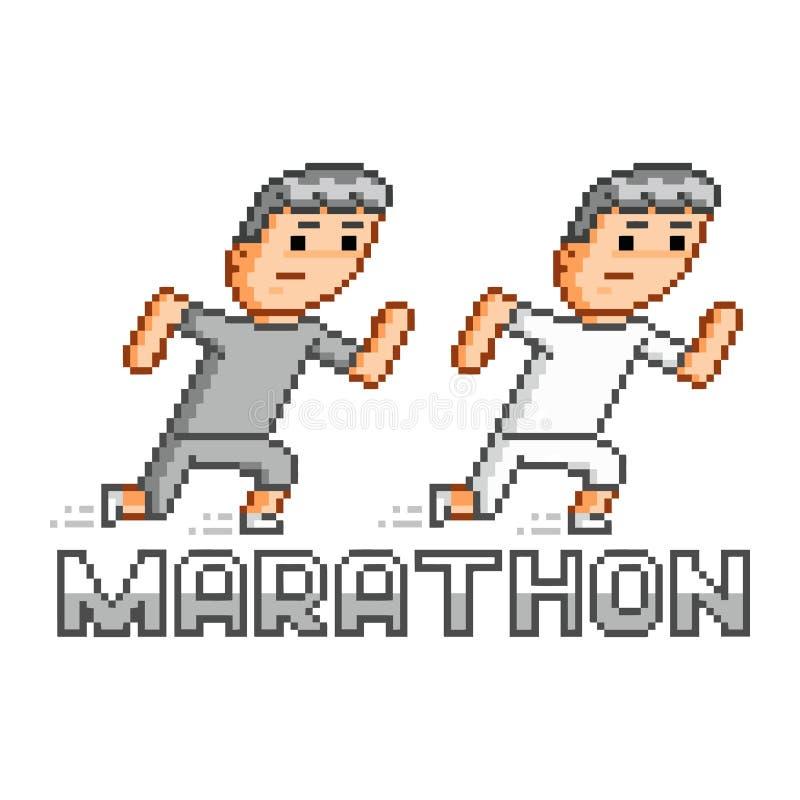 Piksla maraton i biegacze royalty ilustracja