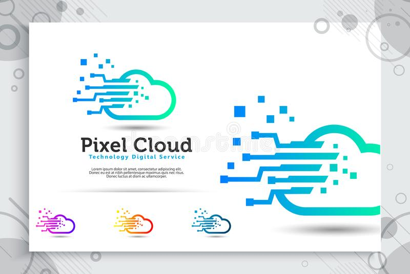 Piksla obłoczny wektorowy logo z stylowym pojęciem, ilustracyjnym pikslem i chmurą jako symbol ikona cyfrowa technologia prostym  ilustracji