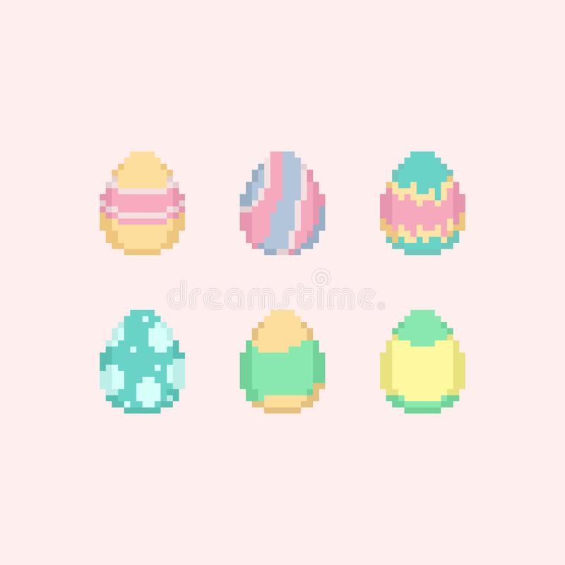 Piksla pastelowego koloru Easter jajka set 8bit ilustracji