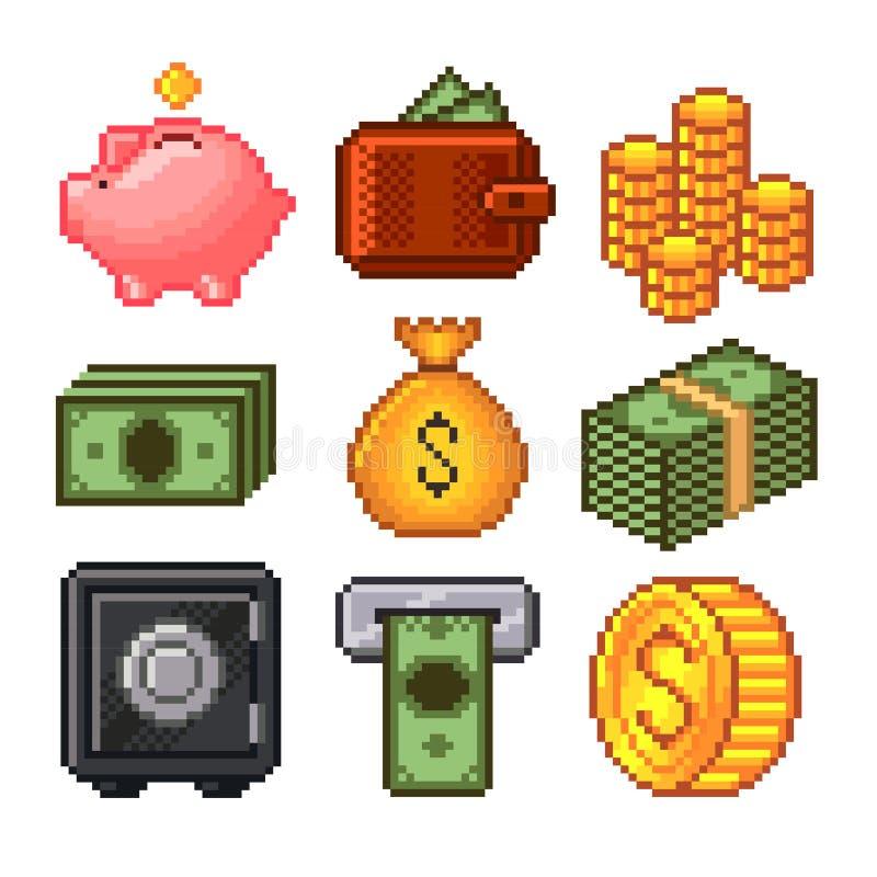 Piksla pieniądze ikon wektoru set ilustracja wektor
