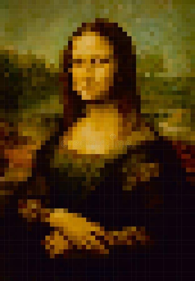 Piksla przestylizowanie obraz Leonardo Da Vinci Mona Lisa ilustracja wektor