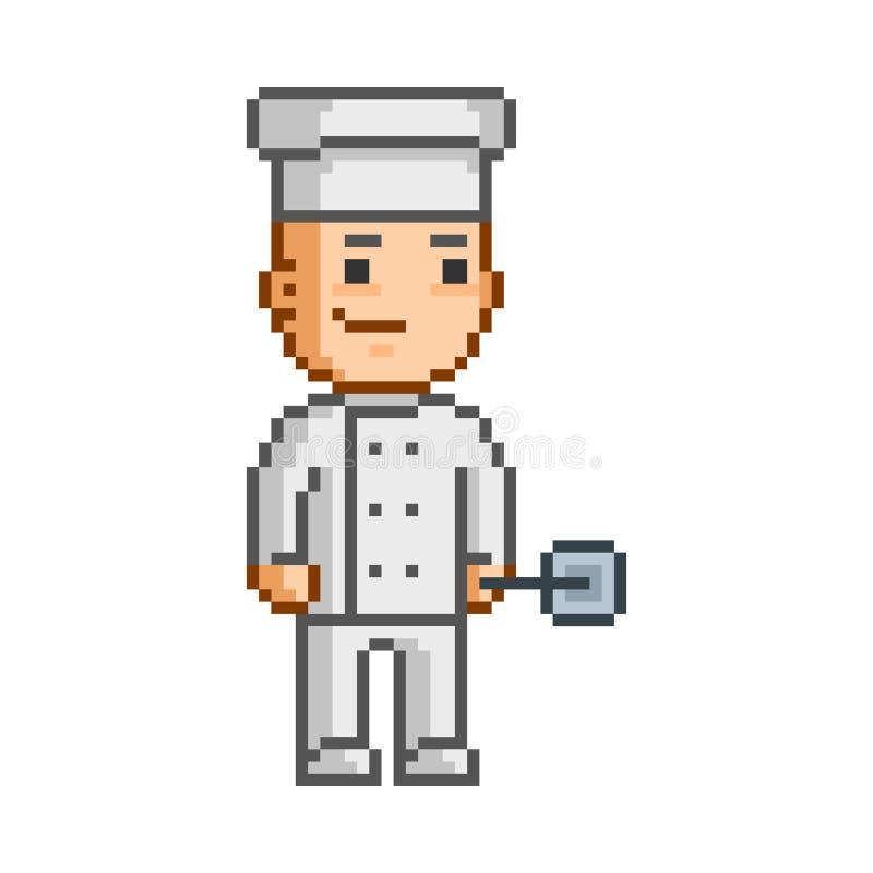 Piksla uśmiechnięty kucharz na białym tle ilustracja wektor