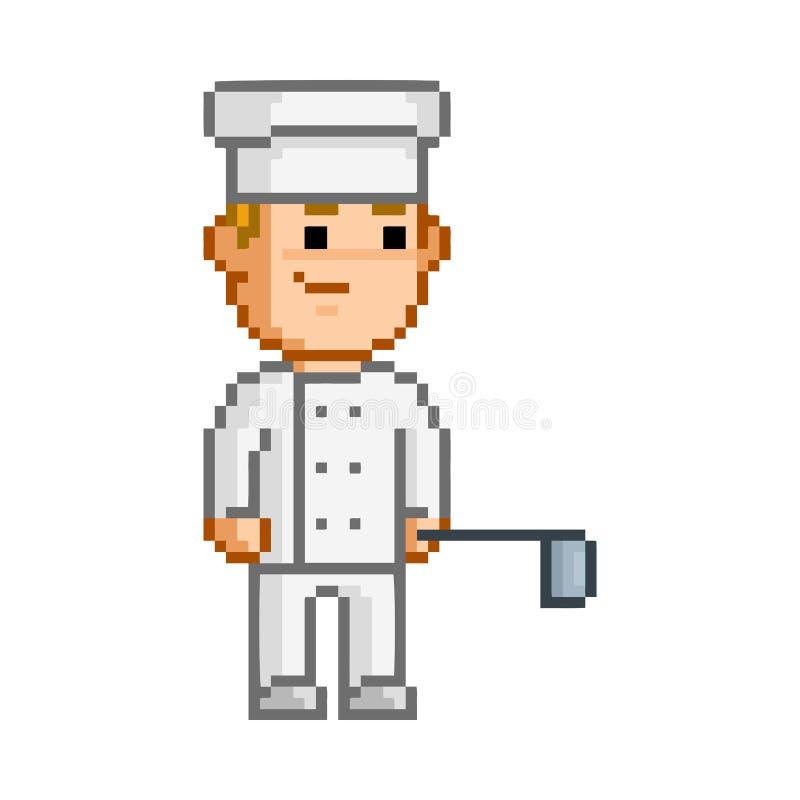 Piksla uśmiechnięty kucharz na białym tle ilustracji