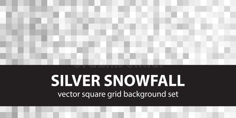 Piksla wzoru setu srebra opad śniegu Wektorowy bezszwowy piksel sztuki bac ilustracja wektor