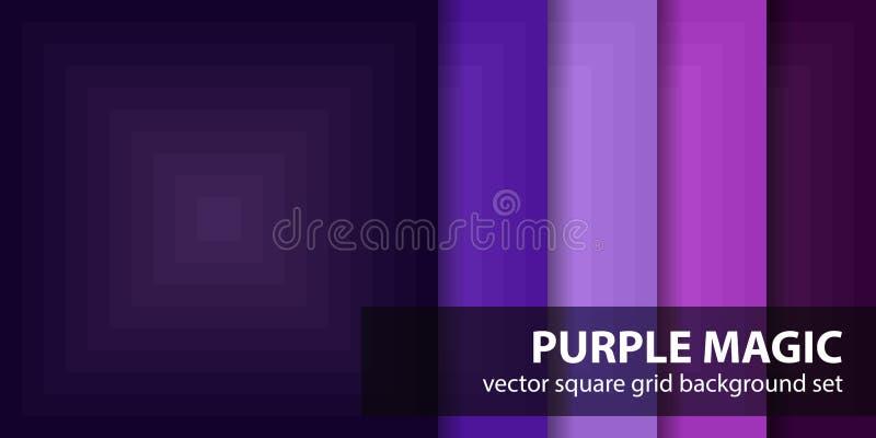 Piksla wzoru ustalona Purpurowa magia Wektorowi bezszwowi piksel sztuki t?a royalty ilustracja