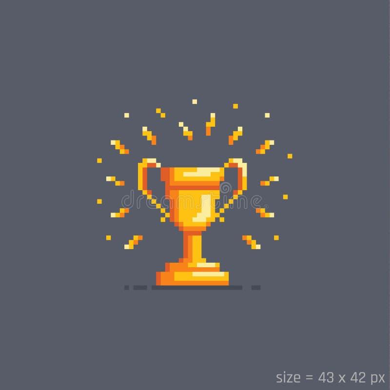 Piksla zwycięzcy złota filiżanka również zwrócić corel ilustracji wektora royalty ilustracja