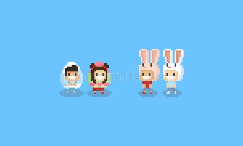 Piksli śliczni dzieci w Easter jajku i królika kierowniczym kostiumu 8bit ilustracji