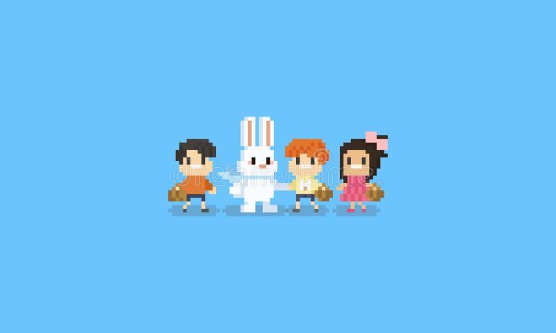 Piksli dzieci charakter z Easter królika charakterem Wielkanocny dzień 8bit ilustracja wektor