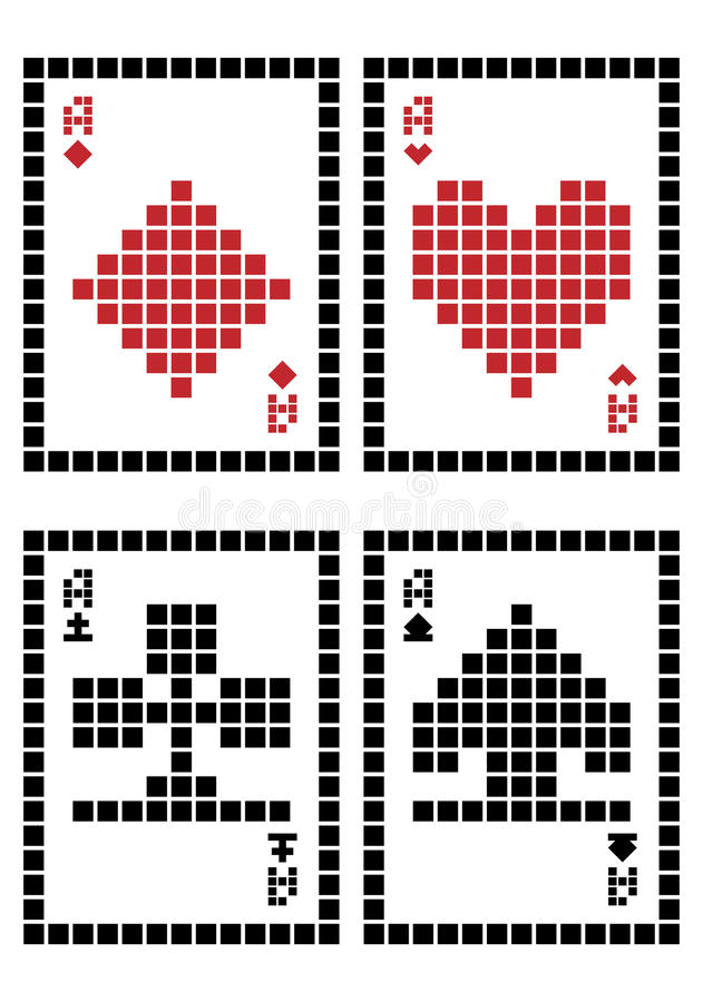 Piksli karta do gry royalty ilustracja
