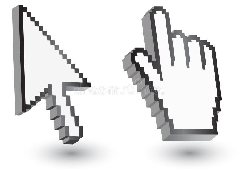 Piksli kursorów ikony: myszy ręki strzała ilustracji