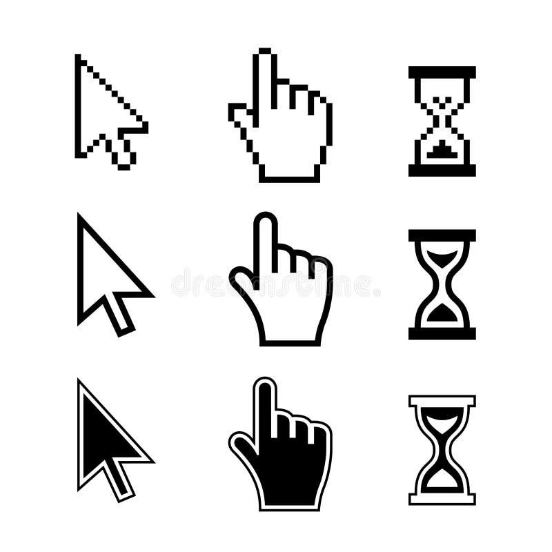 Piksli kursorów ikony. Ręki strzała Hourglass ilustracja wektor