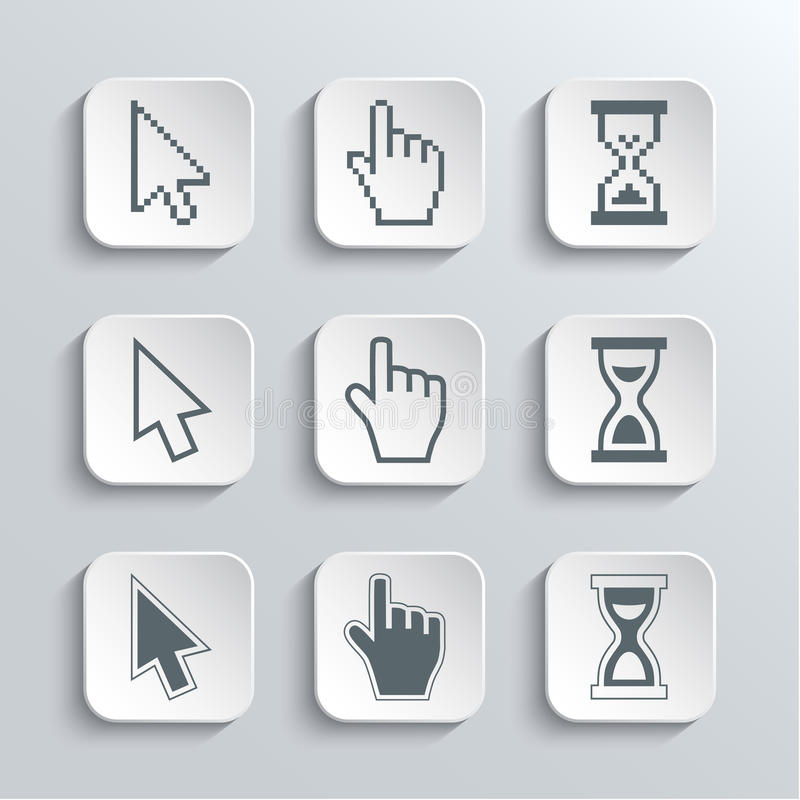 Piksli kursorów sieci ikony Ustawiać ilustracji