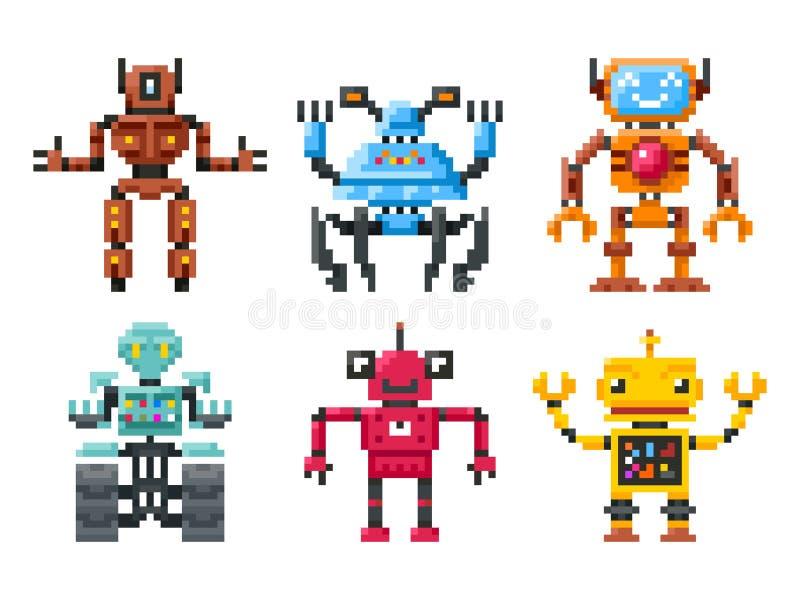 Piksli robotów ikony 8 kawałek larw wektoru set royalty ilustracja