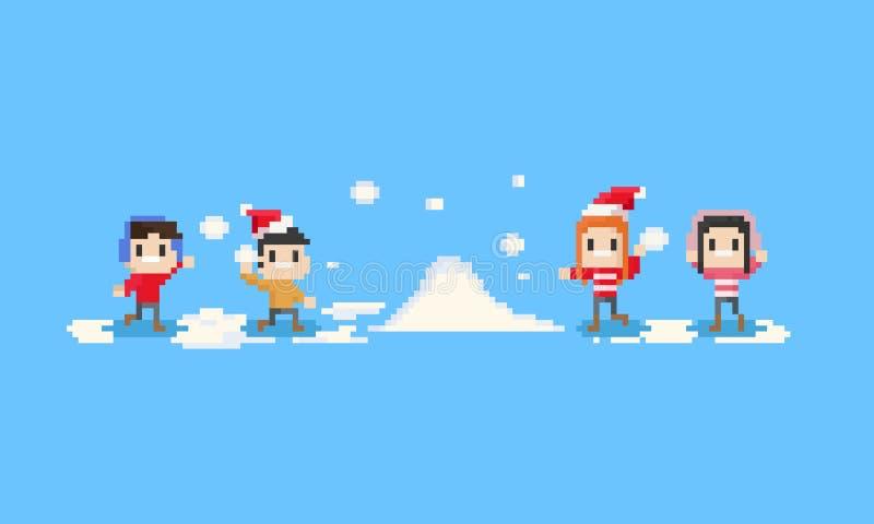 Piksli szczęśliwi dzieci bawić się śnieg 8bit Boże Narodzenia ilustracja wektor