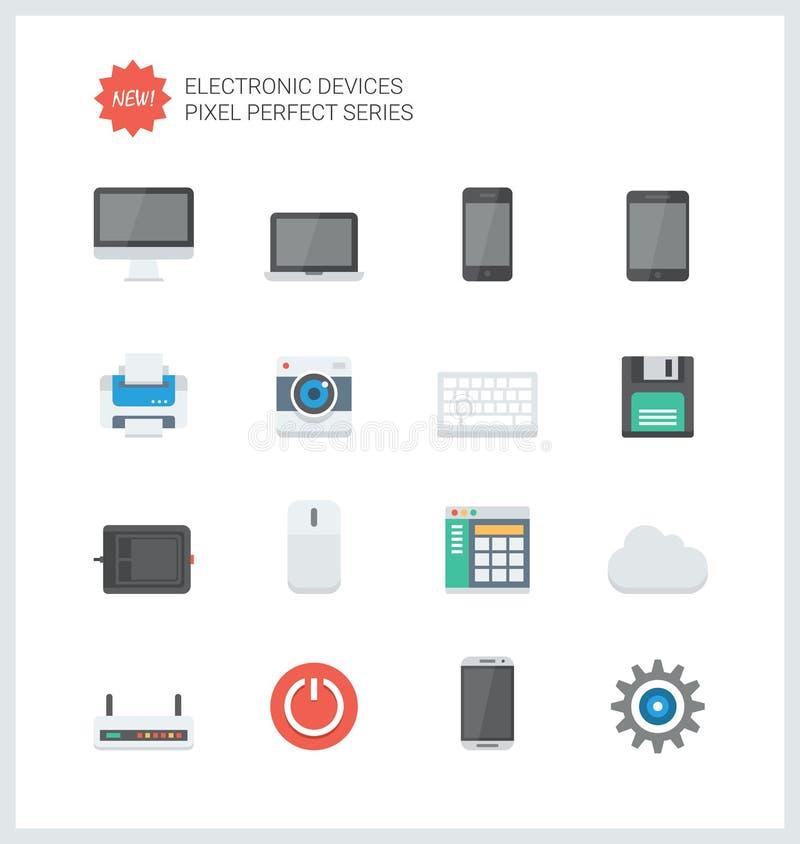 Piksli urządzeń elektronicznych mieszkania perfect ikony royalty ilustracja
