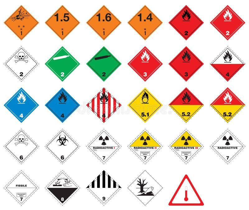 piktogramów towarowi niebezpieczni znaki ilustracja wektor