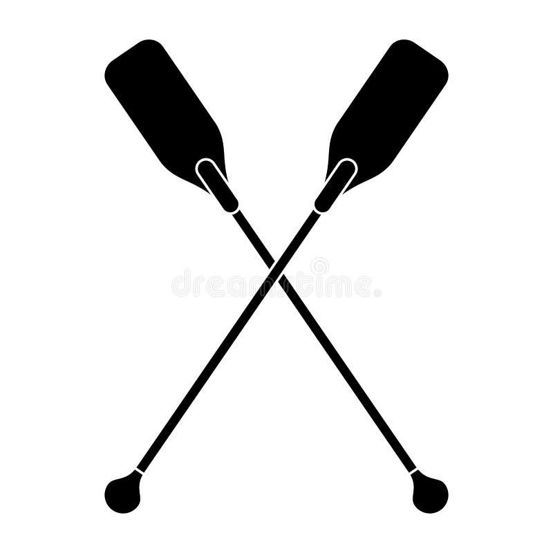Piktogram łodzi paddles krzyżujący narzędzie royalty ilustracja