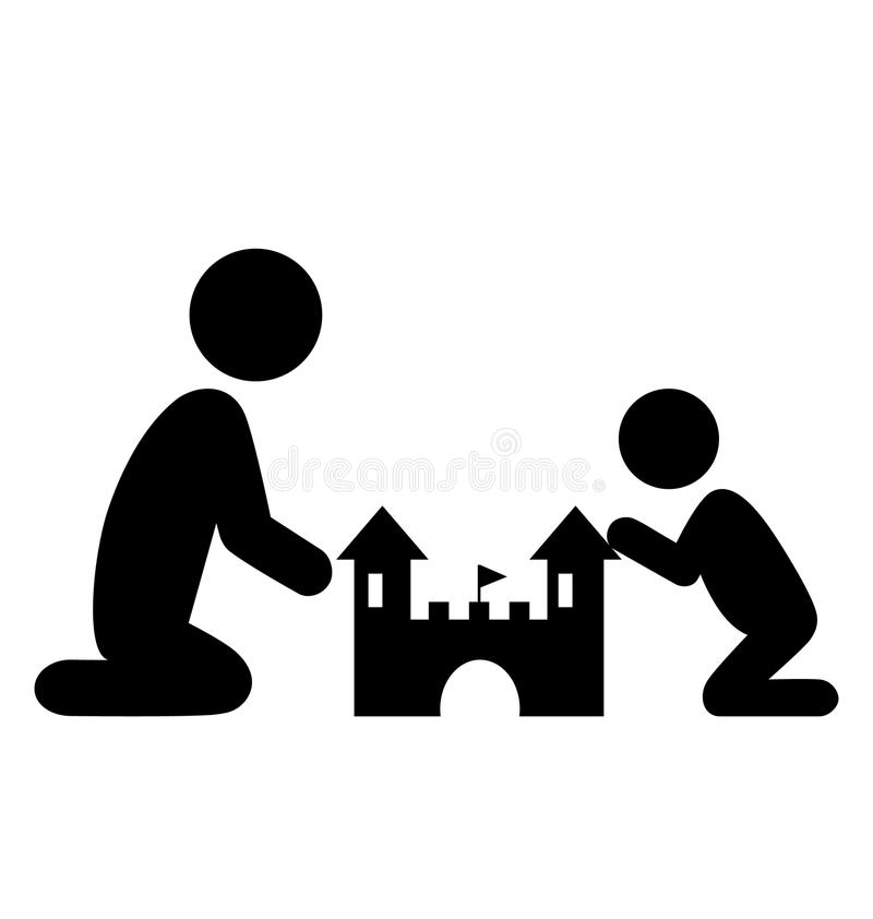 Piktogram Płaska Rodzinna ikona z piaska kasztelem Odizolowywającym na bielu royalty ilustracja
