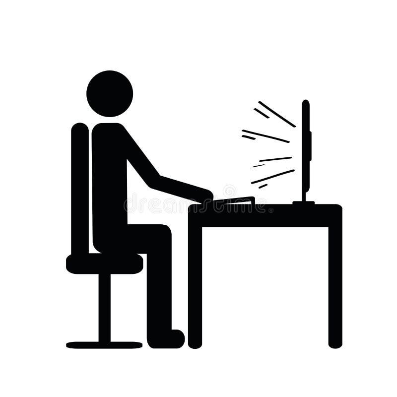 Piktogramm eines Mannes, der hinter einem Computerikonenarbeiter sitzt lizenzfreie abbildung