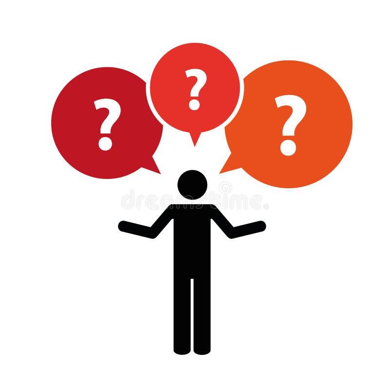 Piktogramm eines Mannes mit Fragezeichengespräch sprudelt stock abbildung