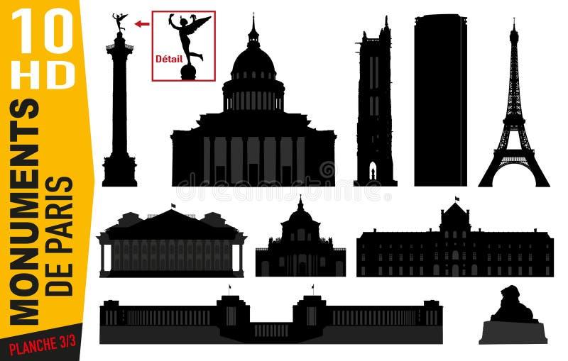 Piktogramme des Kennzeichens 3 von Pariser Monumenten mit der Jalousie, dem Pantheon oder montparnasse stock abbildung