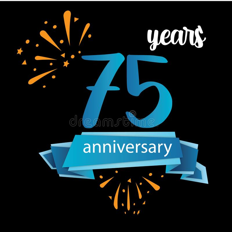 Piktogrammikone mit 75 Jahrestagen, Jahre Geburtstagslogo-Aufkleber Auch im corel abgehobenen Betrag Lokalisiert auf schwarzem Hi stock abbildung