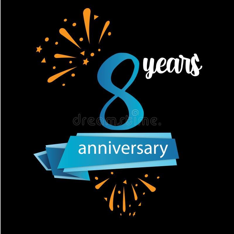 Piktogrammikone mit 8 Jahrestagen, Jahre Geburtstagslogo-Aufkleber Auch im corel abgehobenen Betrag Lokalisiert auf schwarzem Hin vektor abbildung