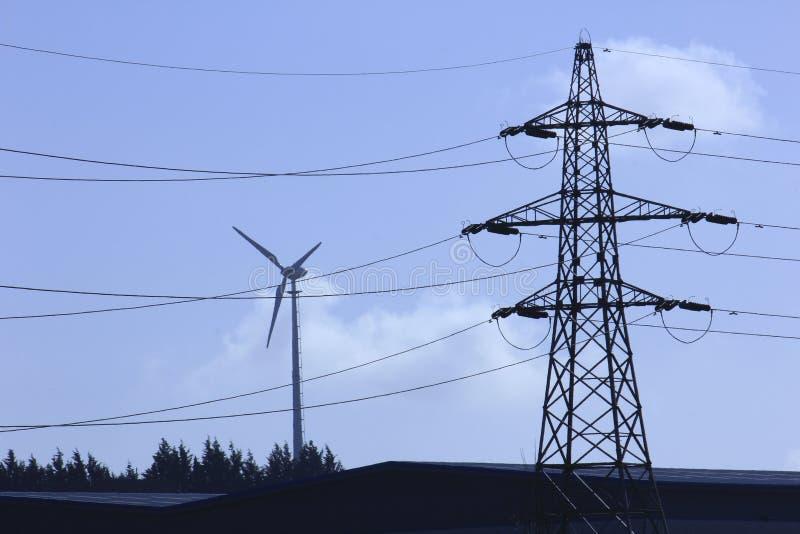 Pilão e turbina eólica. foto de stock royalty free