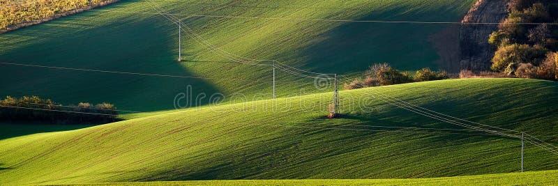 Pilón y líneas eléctricas de la electricidad en las colinas verdes iluminadas por el sol de la tarde Moravian del sur República C foto de archivo