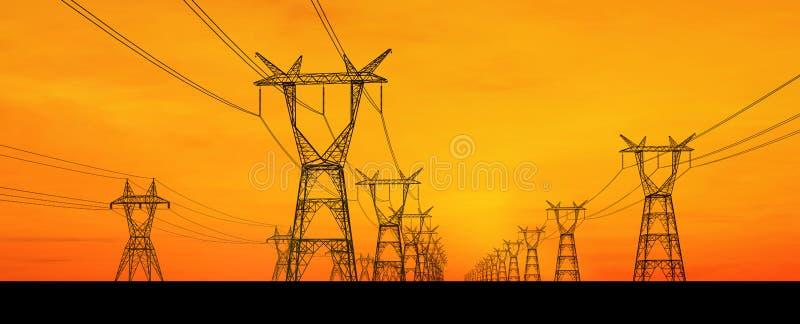 Pilões da eletricidade fotografia de stock
