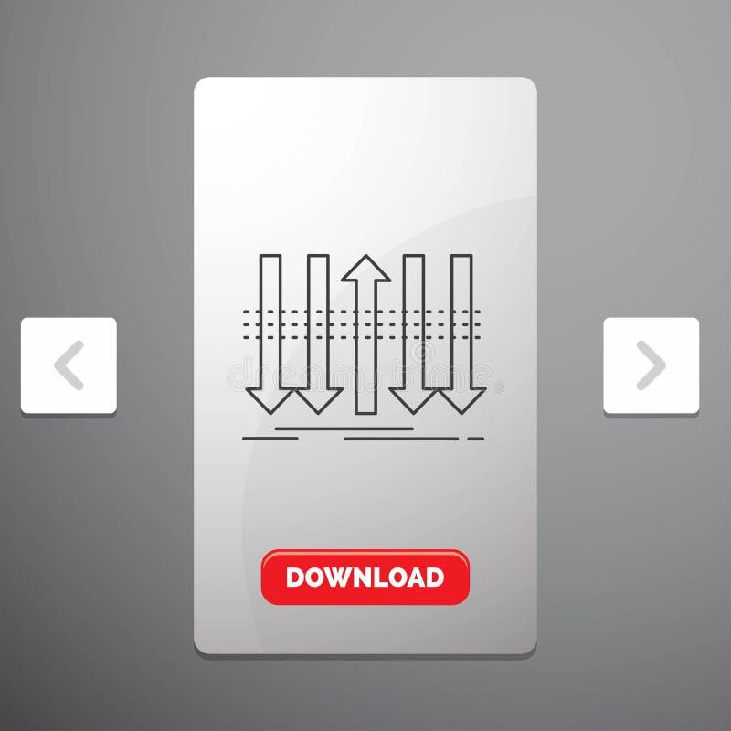 Pil, affär, skillnad, framåt, egenartlinje symbol i design för Carousalpagineringsglidare & röd nedladdningknapp royaltyfri illustrationer