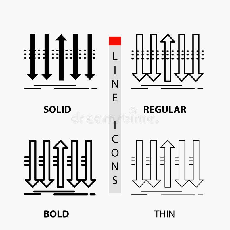Pil affär, skillnad, framåt, egenartsymbol i tunn, vanlig djärv linje och skårastil ocks? vektor f?r coreldrawillustration vektor illustrationer